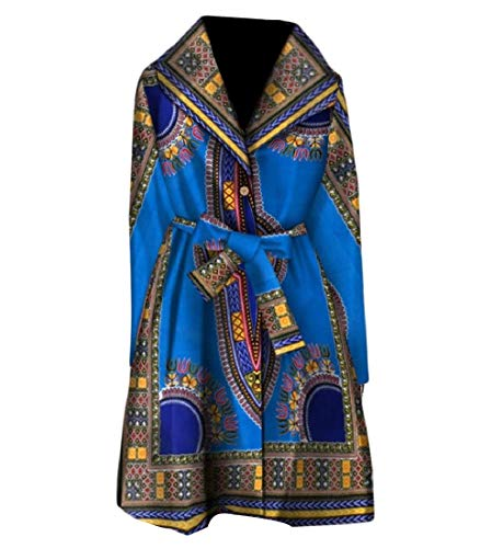 - Abetteric Women Trench Coat Windbreakers African Print Dashiki Casual with Belt Six 2XL