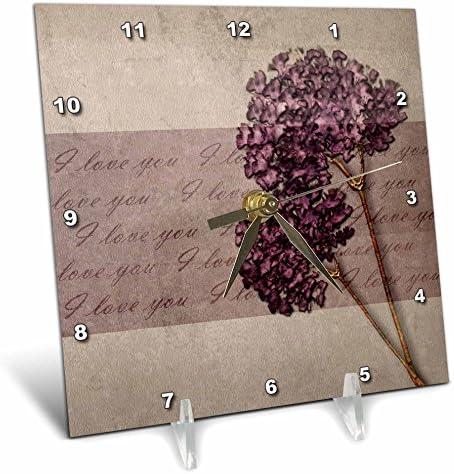 3dRose dc_59972_1 Elegant Warmth I Love You Lavender Floral Flowers Desk Clock, 6 by 6-Inch