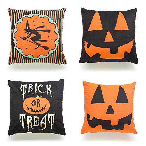 Ussuperstar Set of 4 Happy Halloween Themed Throw Pillow Covers Boho Hippy Cushion Case Throw Floral Fall Pillow Case 18 X 18 Inch Pillowcase Multicolor (HA03)