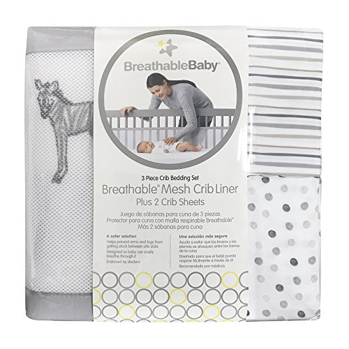 BreathableBaby 3pc Classic Crib Bedding Set - Watercolor Safari