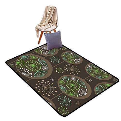 Bath Rug Slip Sage Stylized Abstract Dandelion Floral Garden Growth Inspired Retro Artistic Nature W47 xL59 Suitable for Restaurants,Family Rooms,corridors,foyers.