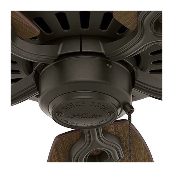 "Hunter builder elite indoor ceiling fan with pull chain control, 52"", new bronze 9 classic ceiling fan: the traditional builder elite traditional fan comes with harvest mahogany reversible blades that will keep home interior and exterior current and inspired; measures 52 x 52 x 11. 27 inch multi-speed reversible fan motor: whisper wind motor delivers ultra-powerful airflow with quiet performance; change the direction from downdraft mode during the summer to updraft mode during the winter pull chain control: turn the bronze ceiling fan on/off and adjust the speed quickly and easily with the pull chains"
