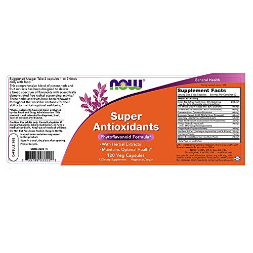 NOW Super Antioxidants 120 Veg Capsules Discount