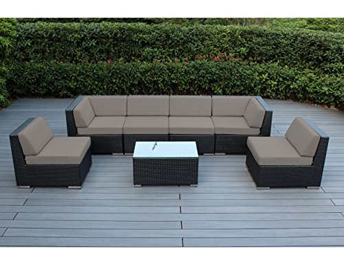 Ohana Collection 7 Piece Ohana Outdoor Patio Wicker Sectional Sofa Set - Sunbrella Taupe (Sunbrella Patio Set)