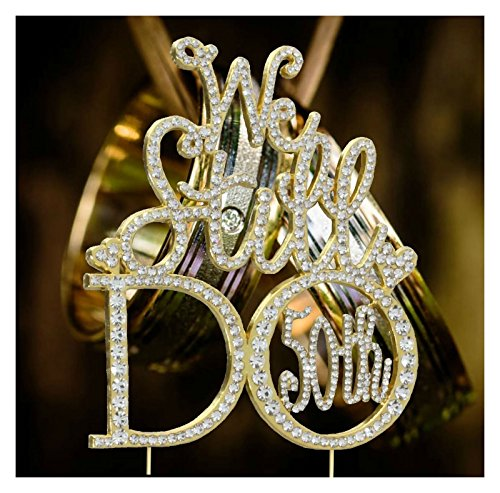 Price comparison product image Vow Renewal 50th Anniversary Wedding Cake Topper In Gorgeous Gold Rhinestones U.S.A. Seller