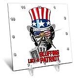 3dRose Carsten Reisinger - Illustrations - Abraham Lincoln Bluffing Like A Patriot Poker Player USA Flag - 6x6 Desk Clock (dc_293417_1)