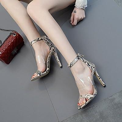 ZHZNVX Le nouveau haut-talon en peau élégant amende de film PVC èµ° sauvages chaussures sandales toe-rosée, snakeskin 39