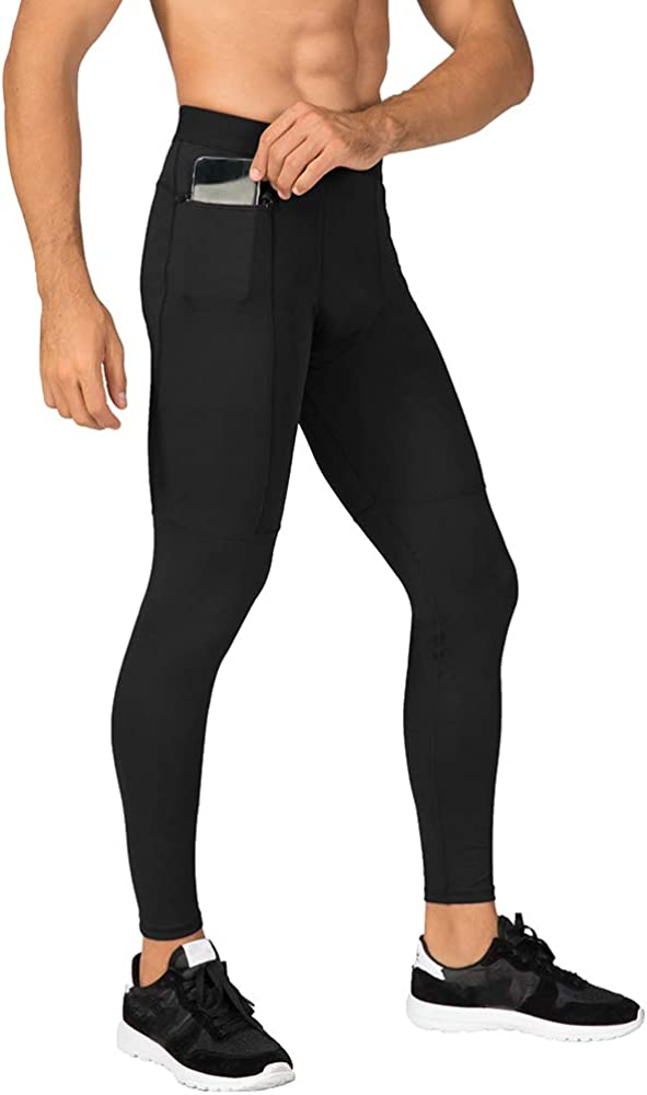N/ A Men's Compression Pants Workout Athletic Leggings Running Gym Tights with Pockets