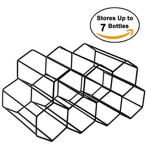 Buruis Metal Wine Rack,Countertop Wine Holder Stand Stack 7 Bottles, Space Saver, Free Standing Wine Storage Rack for Cabinet Home Décor -Black