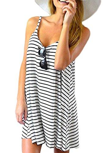 POGT Womens Striped Sundress Sleeveless