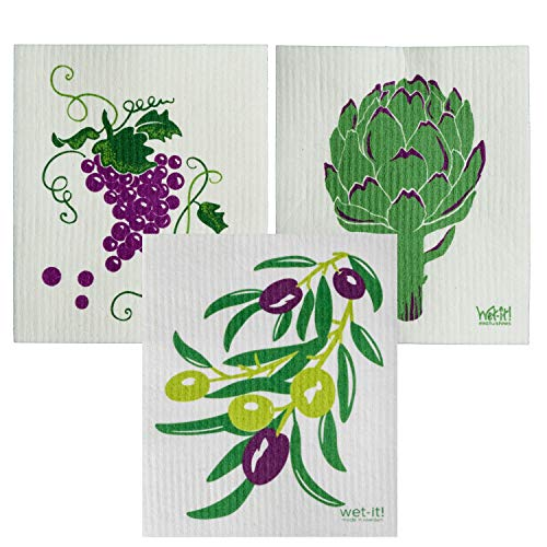 Wet-It Swedish Dishcloth Set of 3 - Grapes, Artichoke, Olives - - New Dishcloth