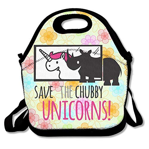 Neoprene Reusable Insulated Lunch Tote Bag School Picnic Thermal Carrying Gourmet Lunchbox Container Organizer For Women, Adults, Kids, Teens, Girls - Save The Chubby Unicorns Pink CUTE Rhino -