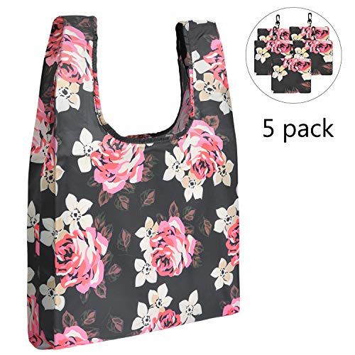 LOKASS 5Pcs Reusable Shopping Bag Foldable Reusable Grocery Bags Tote Bags Heavy Duty Grocery Tote Bags Floral Reusable Bag Lightweight Shopping Bag Foldable into Attached Pouch,Black Peony