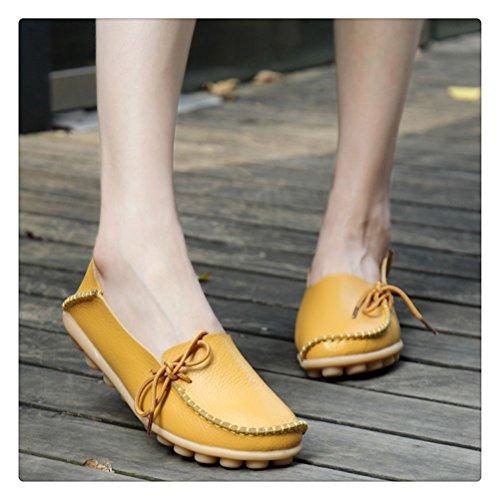 Siempre Pretty Mujeres Casual Leather Mother Mocasines Zapatos De Barco Conducción De Calzado Para Mujer Amarillo