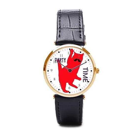 aromar correa de piel Para Hombre Relojes parte gato gatos LOL LOL de piel Para Muñeca Reloj: Amazon.es: Relojes