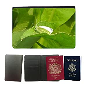 Couverture de passeport // M00134084 Mariposa blanca Insecto Animal Ala // Universal passport leather cover
