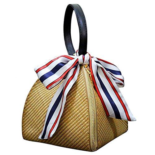 Manualbages Hch-Chic Mujeres Straw Handwoven Bolso De Hombro Crossbody del Totalizador Convertible