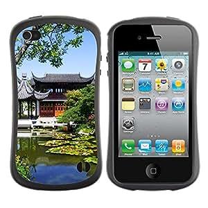 "Pulsar iFace Series Tpu silicona Carcasa Funda Case para Apple iPhone 4 / iPhone 4S , Arquitectura Pond Naturaleza Edificio"""