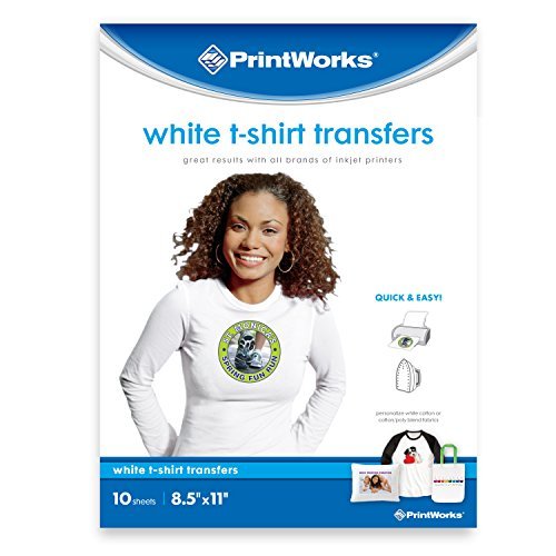 Printworks White T-Shirt Transfers for Inkjet Printers, For Use on White Fabrics Only, Photo Quality Prints, 10 Sheets, 8 ½