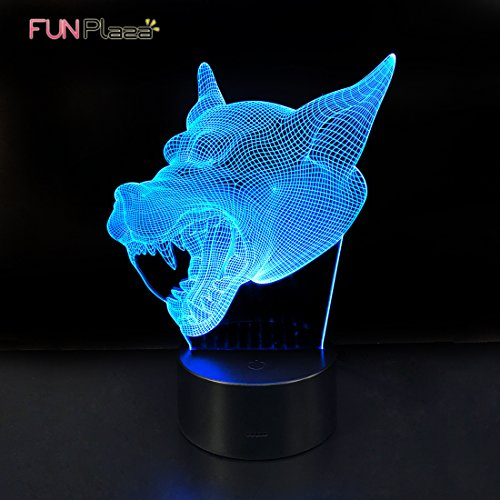 Funplaza 3D Glow LED Art Sculpture Optical Illusion Desk Night Lamp, Werewolf