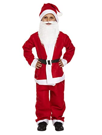 c4a9dd468ad CHILD KIDS SANTA SUIT WITH BEARD FATHER CHRISTMAS FANCY DRESS BOYS COSTUME  4-12