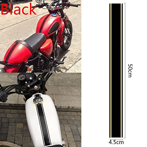 (CALAP STORE - 1Pcs Universal DIY Car Sticker Motorcycle Tank Cowl Vinyl Stripe Pinstripe Decal Sticker For Cafe Racer 50 x 4.5 cm Car Styling (Black))