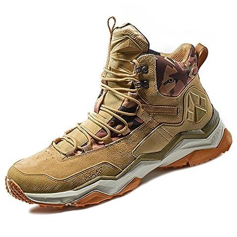 Rax Men's Wild Wolf Mid Venture Waterproof Lightweight Hiking Boots, Light Khaki, 12 - Leather Mid Waterproof Boot