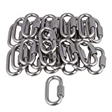 Yibuy 50Piece 29mm Wide Multifunction Silver Oval M6 Screwlock Carabiner D-ring Link