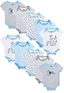 Duck Duck Goose Baby Boy's and Girl's Short Sleeve Bodysuits (10 Pack)