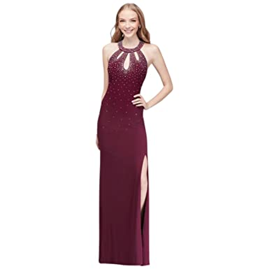 David\'s Bridal Halter Jersey Prom Dress With Crystal Beading Style ...