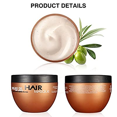 Organic Moroccan Argan Oil Hair Mask, 100% Glycerine Oil Natural, Deep Conditioner For Dry Damaged Hair, Hydrating Nourishing Treatment, Care All Hair Types