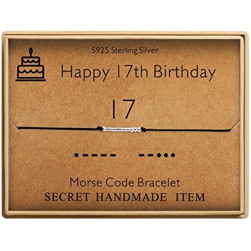 Happy 17th Birthday Gifts for Girls Morse Code Bracelet Sterling Silver Bracelet Birthday Jewelry 17 Year Old Gifts for Her (Birthday Gifts For 17 Year Old Daughter)