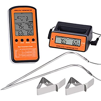 BBTO Wireless Food Thermometer, Remote Digital Cooking Meat Thermometer with Dual Stainless Steel Probes for BBQ Grill Oven, Batteries Not Included