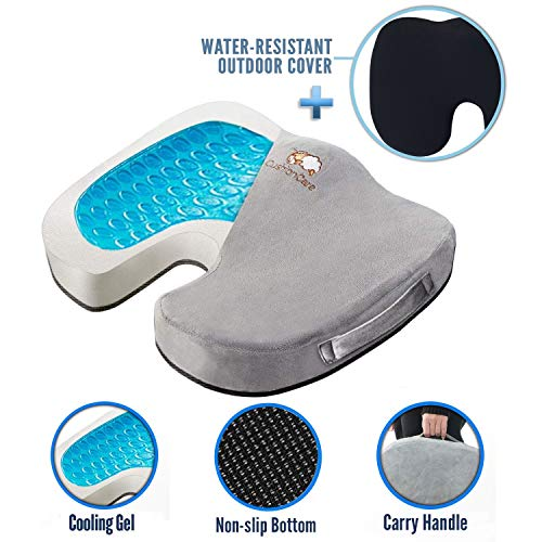 Memory Foam Coccyx Seat Cushion - Cooling Gel + Outdoor Water-Resistant Cover - Orthopedic Pain Relief for Tailbone, Sciatica - Non-Slip Back, Hip Support for Office Chair, Car, Truck, Wheelchair