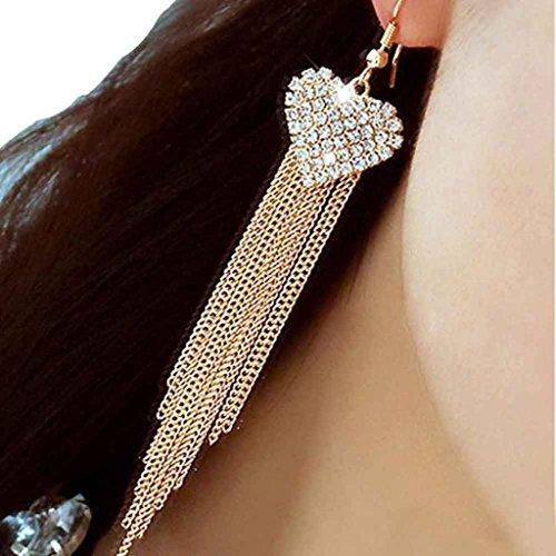 Voberry Womens Tassels Crystal Earrings