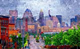 Baltimore Skyline from Johns Hopkins Hospital on a Purple Day, Baltimore Art, Baltimore Skyline, Museum Quality Art Poster