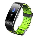 Leoie Fitness Tracker, LCD Screen Sports Smart Watch, Blood Pressure Heart Rate Monitor Smart Bracelet Activity Tracker Bluetooth Pedometer with Sleep Monitor Smartwatch for iPhone Samsung & Other Android or iOS Smartphones for Adults Kids (Green)