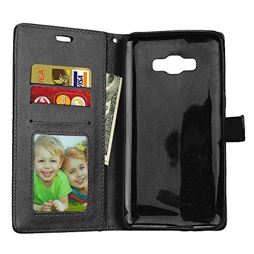 JIALUN-Personality teléfono shell Funda de cuero magnética de la bolsa de la cartera de la PU del diseño magnético de la hebilla, [cubierta horizontal de la caja del soporte del tirón de 3 ranuras de  Black