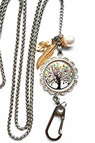 (RhyNSky Tree Of Life Chain Lanyard Necklace Bracelet Keychain Eyeglass Holder for ID Card Name Tag Badge Holder with Clasp, C1027)