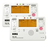 Korg TM-50 Combination Instrument Tuner and Metronome - Pearl White - 2-Pack