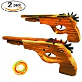 Adventure Awaits - 2-Pack Rubber Band Gun - Quality Wood & Handmade - Easy load - 8 Rubber bands per set