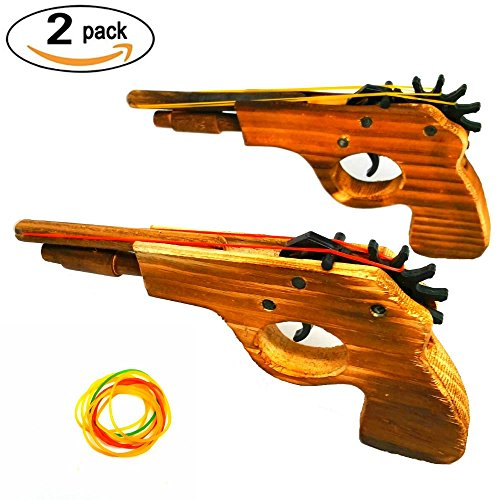 Wood Rubber Band (Adventure Awaits! 2-Pack Rubber Band Gun - Quality Wood & Handmade - Easy load - 8 Rubber bands per set)