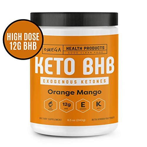 Omega Keto BHB Exogenous Ketones - Orange Mango - High Dose Base goBHB Salt Powder | Ketones for Ketogenic Diet | Electrolytes | Perfect for Supporting Energy, Mental Focus, Ketosis (16 Servings)
