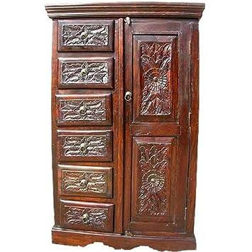 Solid Wood Rustic Mahogany Armoire Wardrobe Cabinet