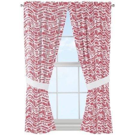 NCAA Nebraska Cornhuskers ''Anthem'' Window Curtain Panels - Set of 2 - 36'' x 48'' by The Northwest Company