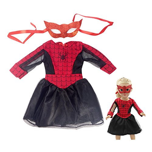 Red And Black Long Sleeve Spider Cosplay Costume Dress 18 Inch Doll Clothes Accessories