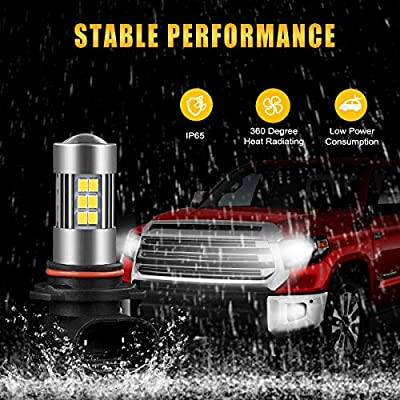 SEALIGHT 9145/9140/H10/9045/9040 LED Fog Light Bulbs, 6000K Xenon White, 27 SMD Chips, 360-degree Illumination, Non-polarity, 2-pack: Automotive