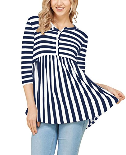 Aolakeke Womens Round Neck Tops 3/4 Sleeve Blouses Casual Striped Shirts Button Down T Shirts Pleated Tunics