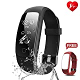Fitness Tracker - Ronten R7 Plus Activity Tracker With Heart Rate Monitor - Waterproof Fitness Watch - Wireless Bluetooth Smart Bracelet with Replacement Strap for Android & IOS (Black+Red(strap))