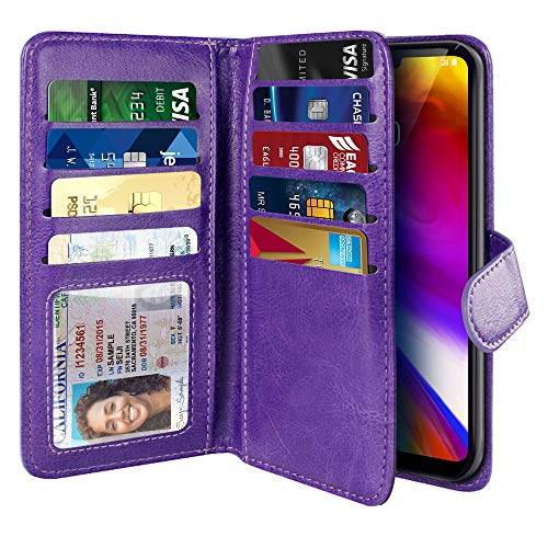 - NEXTKIN Case Compatible with LG G7 ThinQ G710 6.1 inch, Leather Dual Wallet Folio TPU Cover, 2 Large Pockets Double flap, Multi Card Slots Snap Button Strap For LG G7 ThinQ - Purple